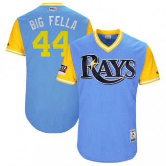 "Youth Authentic Tampa Bay Rays C.J. Cron Majestic ""BIG FELLA"" /Yellow 2018 Players' Weekend Flex Base Jersey - Light Blue"