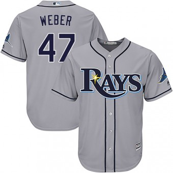 Youth Authentic Tampa Bay Rays Ryan Weber Majestic Cool Base Road Jersey - Gray